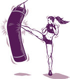 Kickboxer. Lady kickboxer killing the bag Stock Images