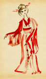The lady in kimono dancing. Drawing in traditional Japanese style vector illustration