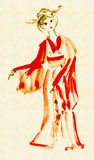 The lady in kimono dancing. Drawing in traditional Japanese style royalty free illustration