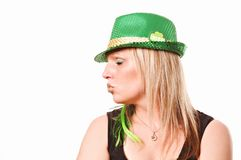 Kiss Me Irish St. Patrick`s Day. A lady kissing on St. Patrick`s Day isolated on white Stock Image