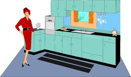 Lady in kitchen. Retro mom in pencil skirt and pill box hat standing in her new kitchen Royalty Free Stock Image