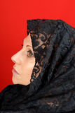 Lady with lace veil Royalty Free Stock Images