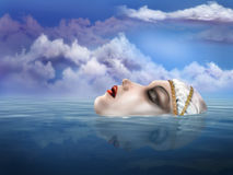 Lady of the Lake. Illustration of the legendary Lady of the Lake appearing from beneath the water Stock Photo