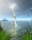 The Lady of the Lake holding the Sword Excalibur Stock Images