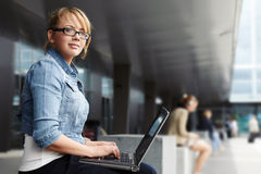 Lady with laptop Stock Photos