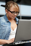 Lady with laptop Stock Photography