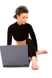 Lady with a laptop Royalty Free Stock Image