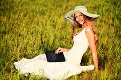 Lady with laptop Stock Image
