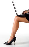 Lady laptop legs Royalty Free Stock Photography