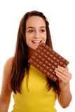 Lady with large chocolate bar Royalty Free Stock Images