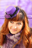 Lady with lavender hat Stock Photography