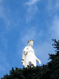 Lady of Lebanon, Harissa. Harissa, Our Lady of Lebanon statue against a blue sky with cedar firs in the foreground. Lebanon Royalty Free Stock Photos