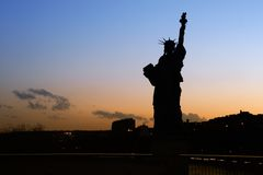 Lady Liberty. Silhouette of the Parisian Statue of Liberty - Paris, France stock photos