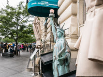 Lady Liberty miniature outside gourmet shop on Lower Manhattan Stock Image