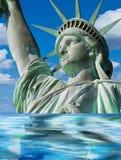 Lady Liberty Sinking. Royalty Free Stock Photos