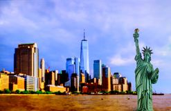 Lady Liberty standing in front of Manhattan skyline stock image