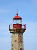 Lady Of Light. Facing the Atlantic Ocean, the small lighthouse Lady of Light guarding the mouth of the Douro River in Porto, Portugal. Photo: lantern of the royalty free stock photography