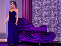 Lady in Lilac Room Royalty Free Stock Photo