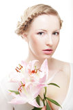 Lady with lily Stock Photos