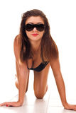 Lady in lingerie and sunglasses Stock Images