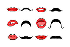 Lady lips and gentleman mustaches Royalty Free Stock Image