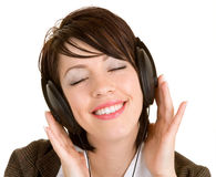 Lady Listening to Music with Headphones Royalty Free Stock Photos