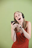 Lady Listens To Music Royalty Free Stock Images