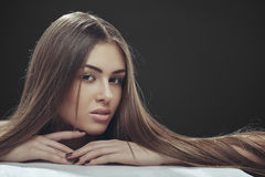Lady with long hair Stock Photography
