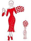 Lady in long red gown with red roses goes away. Graceful lady in a long red gown with a bouquet of red roses goes away, hand drawing sketching vector artwork Stock Image