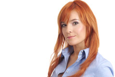 Lady With Long Red Hair. Portrait of a beautiful young woman with long red hair and beautiful eyes Stock Image