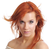 Lady With Long Red Hair. Portrait of a beautiful young woman with long red hair and beautiful eyes Stock Images