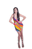 Lady in daily look, wear colorful mini dress Stock Image