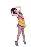 Lady in daily look, wear colorful mini dress Royalty Free Stock Images