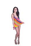 Lady in daily look, wear colorful mini dress Royalty Free Stock Image