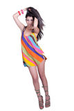 Lady in daily look, wear colorful mini dress Royalty Free Stock Photography