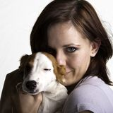 Lady Love. Beautiful Young woman with a little jack russel puppy hugging head shot Stock Photos