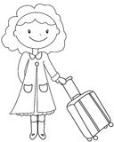 Lady with a luggage coloring page Stock Photography