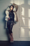 Lady in luxurious fur coat. Fashion photo of beautiful young lady in a luxurious fur coat royalty free stock image