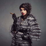 Lady in luxurious fur coat Stock Images