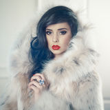 Lady in luxurious fur coat. Fashion photo of beautiful young lady in a luxurious fur coat royalty free stock images