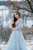 Lady in a luxury lush blue dress. Fantastic shot, fairytale princess is walking in the winter forest, fashionable toning, creative computer colors royalty free stock photo