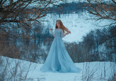 Lady in a luxury lush blue dress. Fantastic shot, fairytale princess is walking in the winter forest, fashionable toning, creative computer colors royalty free stock images