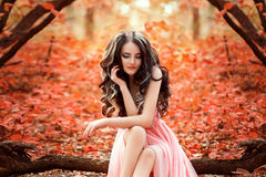 Lady in a luxury lush pink pastel dress. Sits near the tree,fantastic shot,fairytale princess is walking in the autumn forest,fashionable toning,creative royalty free stock photo