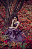 Lady in a luxury lush purple dress Royalty Free Stock Photos