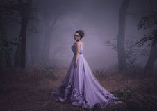 Lady in a luxury lush purple dress. Swirls in the smoke,fantastic shot,fairytale princess is walking in the autumn forest,fashionable toning,creative computer Stock Photos