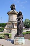 Lady Macbeth, Stratford-upon-Avon. Shakespeare memorial by Lord Ronald Gower in Bronze and stone 1888 in Bancroft Gardens with Lady Macbeth in the foreground Stock Photos