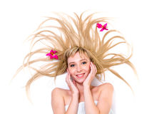Lady with magnificent blond hair Stock Images