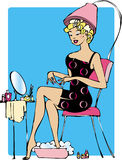 Lady making beauty. Lady doing beauty procedures to herself Vector Illustration