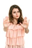 Lady making stop gesture with her palm Royalty Free Stock Photos