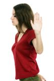 Lady making stop gesture with her palm Stock Photo